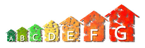Energy Efficiency - Concept image with colored houses in the sha. Pe of flowersisolated on white background Stock Photos