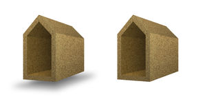 Energy Efficiency concept image. Energy Efficiency: home concept thermally insulated with walls cork stock photos