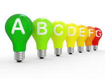 Energy efficiency concept with light bulbs Stock Photo