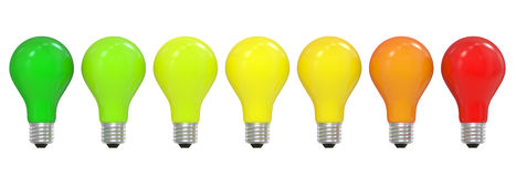 Energy efficiency concept with light bulbs Stock Images