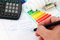 Energy efficiency. Concept with energy rating chart stock photography
