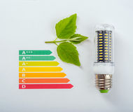 Energy efficiency concept. With energy rating chart and LED lamp stock image