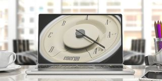 Energy efficiency concept. Vintage car gauge on a laptop screen, blur office background. 3d illustration. Energy efficiency concept. Vintage car gauge on a royalty free stock images