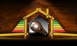 Energy Efficiency - Model House and Light Bulb. Energy Efficiency - 3D illustration of a model house with energy efficiency rating, light bulb and wooden folding Royalty Free Stock Photo