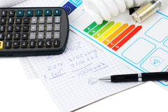 Energy efficiency. Eenergy efficiency concept with energy rating chart Royalty Free Stock Image