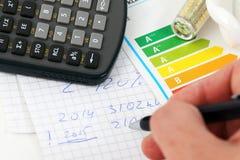 Energy efficiency. Eenergy efficiency concept with energy rating chart stock photos