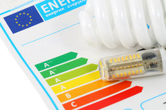 Energy efficiency. Eenergy efficiency concept with energy rating chart Royalty Free Stock Photography