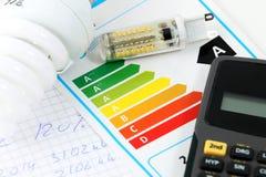 Energy efficiency. Eenergy efficiency concept with energy rating chart stock photo