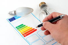 Energy efficiency. Eenergy efficiency concept with energy rating chart royalty free stock photos