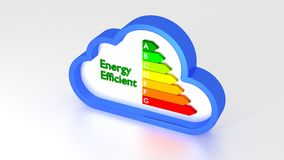 Energy efficiency graph inside of a blue cloud symbol Stock Photo