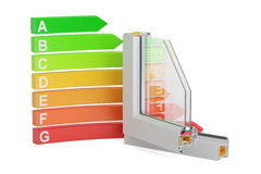 Energy efficiency graph with plastic windows profiles, 3D render. Ing on white background Royalty Free Stock Image