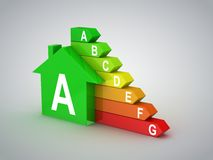 Energy efficiency. Gray background, 3d render royalty free stock photo