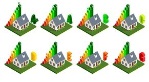 Energy efficiency and home improvement concept. Isometric home energy icons. Vector illustration vector illustration