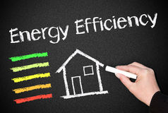 Energy Efficiency of homes. The text ' Energy Efficiency ' written in white on a black chalkboard with a color scale and house stock photos