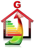Energy Efficiency - House with Energy Waste. 3D illustration of a symbol in the shape of house with energy efficiency rating and an arrow with energy waste Stock Images
