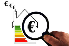 Energy efficiency. House under the magnifying glass to take the full control of the property Stock Photos