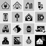 Energy Efficiency Icons Black. Energy efficiency house power supply system icons black set isolated vector illustration Stock Photos