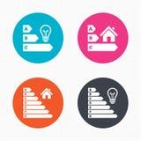 Energy efficiency icons. Lamp bulb and house Stock Photos