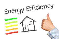 Energy efficiency illustration. Woman's hand with thumbs up next to illustration of house and text energy efficiency on white background royalty free stock image