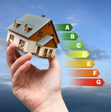 Energy efficiency label for house / heating and emoney savings -. Energy efficiency label for house / heating and money savings - model of a house in a hand Royalty Free Stock Photography