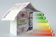 Energy efficiency label for house / heating and money savings - house made of Czech crown currency banknotes. Energy efficiency label for house / heating and Royalty Free Stock Images