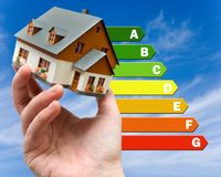 Energy efficiency label for house / heating and money savings - model of a house in a hand. Against the sky royalty free stock photo