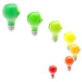 Energy efficiency levels as bulbs Royalty Free Stock Photos