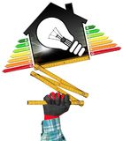 Energy Efficiency - Model House and Light Bulb. Energy Efficiency - 3D illustration - Hand with work glove photo holding a symbol in the shape of house with stock photos