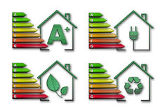 Energy efficiency pack. Four graphical representations of energy efficiency Stock Photos