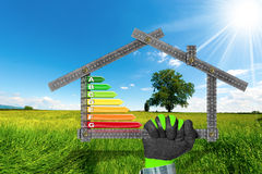 Energy Efficiency - Project of Ecological House Stock Images