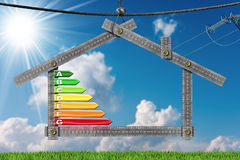 Energy Efficiency - Project of Ecological House. Metal ruler in the shape of a house, hanging on a steel cable with energy efficiency rating. Concept of Royalty Free Stock Image
