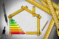 Energy Efficiency - Project of Ecological House Royalty Free Stock Images