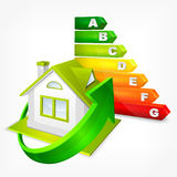 Energy efficiency rating with arrows and house Stock Image
