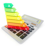 Energy efficiency rating on calculator. Concept.  on white background Royalty Free Stock Images