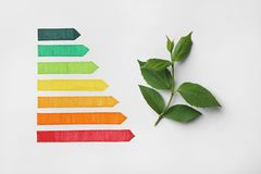 Free Energy Efficiency Rating Chart And Green Leaves On White Background Stock Photo - 156573560
