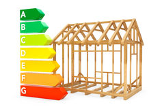 Energy Efficiency Rating Charts with House Frame Stock Photos