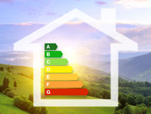 Energy efficiency rating charts with house Royalty Free Stock Photos