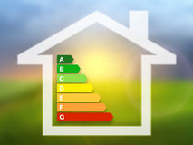 Energy efficiency rating charts with house. On a nature background Stock Photos
