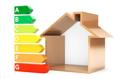 Energy Efficiency Rating Charts with House Stock Photo
