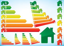 Energy Efficiency Rating Graphs Royalty Free Stock Images