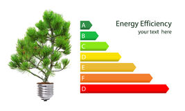 Energy efficiency rating. And green lightbulb concept isolated over white Stock Photos
