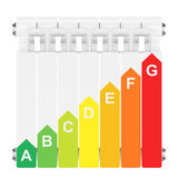 Energy efficiency rating on heating radiator. Royalty Free Stock Image