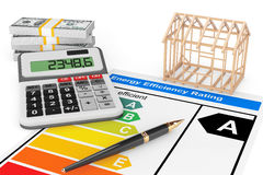 Energy Efficiency Rating with House Frame Royalty Free Stock Photography