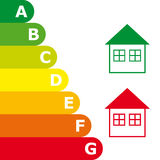 Energy efficiency rating and house icon Royalty Free Stock Photos