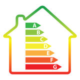 Energy efficiency rating and house () Stock Images