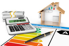 Energy Efficiency Rating with House. On a white background royalty free stock photography
