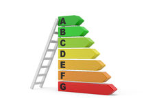Energy efficiency rating with ladder Royalty Free Stock Photo