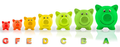 Energy efficiency rating pigs Royalty Free Stock Photos