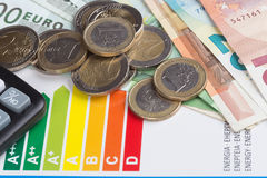 Energy efficiency rating scale. With euro money Royalty Free Stock Photography