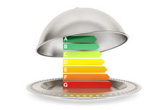 Energy Efficiency Rating in Silver Restaurant cloche Royalty Free Stock Photos